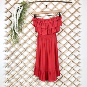 Rebecca Taylor Coral Strapless Ruffle Silk Dress